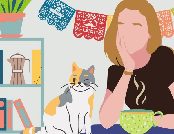illustrated image of red haired woman, calico cat, bookshelf and plants
